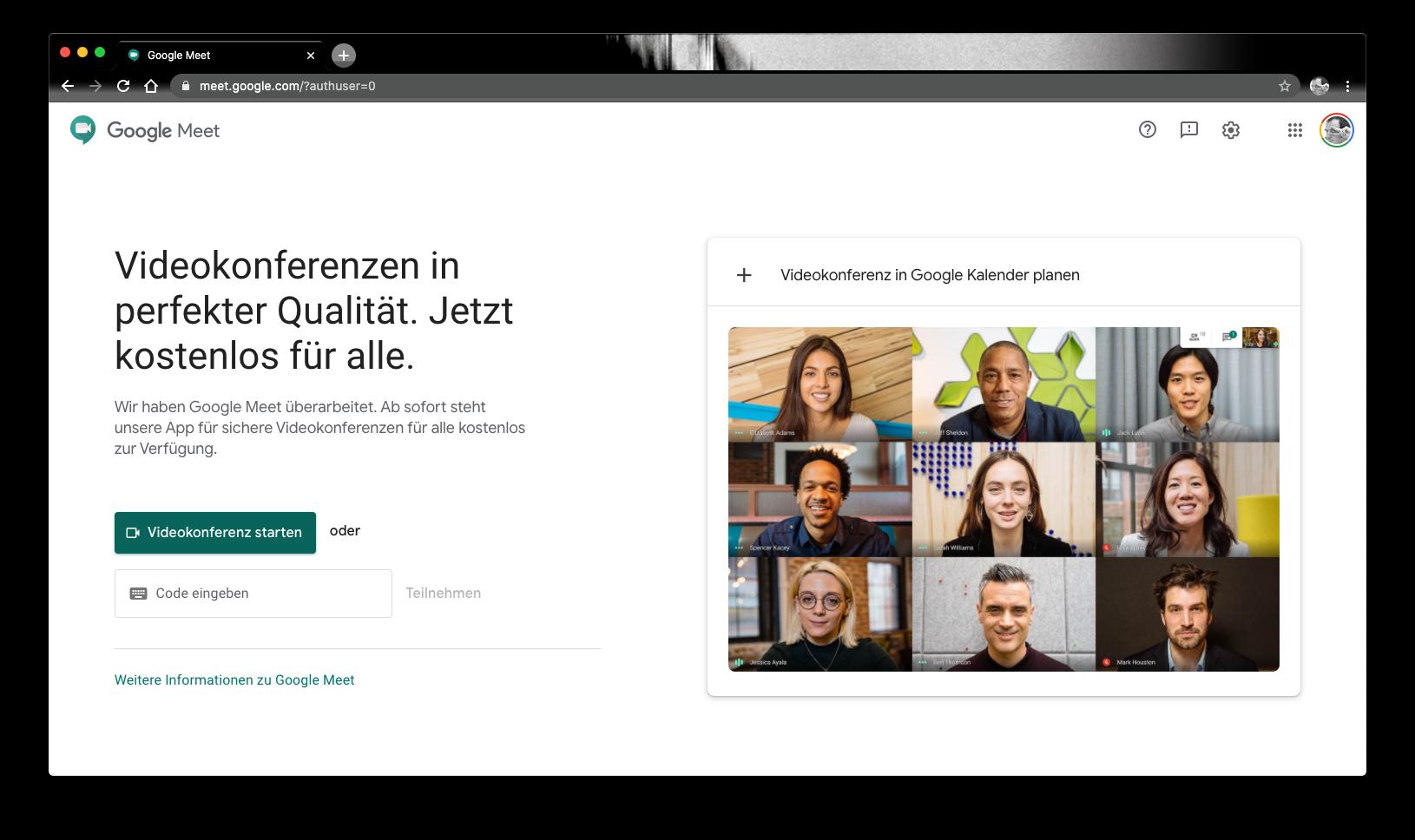 Live-Video Dienst Google-Meet