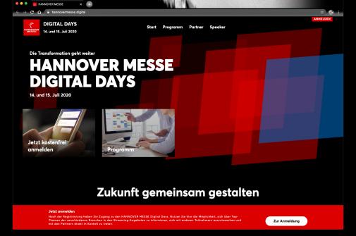 Live Video event Digital konferenz Hannover messe Bildschirmfoto